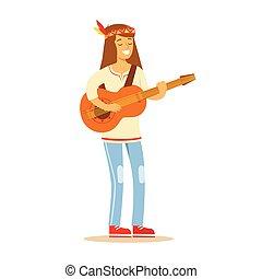 debout, subculture, hippie, classique, habillé, woodstock, guitare, années soixante, hippy, type, jouer, vêtements
