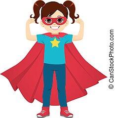 debout, super, girl, héros