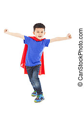 debout, superhero, studio, gosse