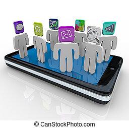 debout, téléphone, app, intelligent, gens