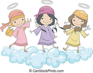 debout, tête, nuages, écharpes, girl, anges