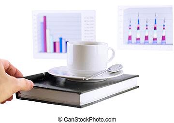 debout, tasse à café, isolé, organizer.