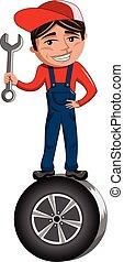 debout, tenue, pneu, mécanicien voiture, clé, dessin animé
