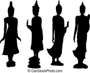 debout, thaï, buddha.