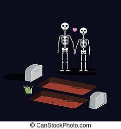 debout, toujours, amour, cimetière, valentines, halloween, deux, nuit, crânes, os