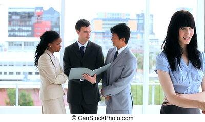 debout, travail, ensemble, conversation, quoique, équipe,...