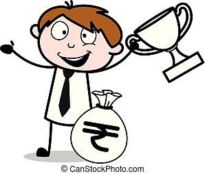 debout, trophée, bureau, argent, -, sac, vecteur, illustration, employé, vendeur, dessin animé