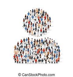 debout, une, groupe, gens, grand, concept., signe., utilisateur, tout