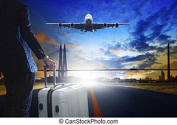 debout, urbain, business, bagage, piste, jeune, aéroport, homme