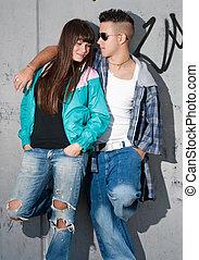 debout, urbain, mode, couple, jeune, portrait
