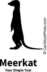 debout, vecteur, silhouette, meerkat, illustration