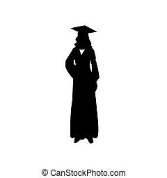 debout, vecteur, woman., illustration