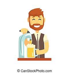 debout, verser, barbu, compteur, barman, bière, caractère, illustration, sourire, vecteur, barre, barman, travail, dessin animé, homme