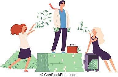 debout, vie, gestion, prosperity., finance, argent, concept., dollar, rentabilité, vecteur, tas, coûteux, riche, homme affaires, avidité, stockage
