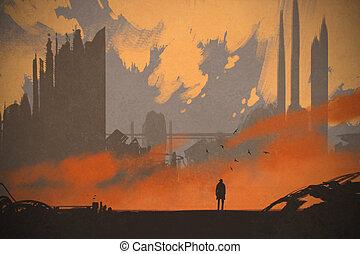 debout, ville, abandonnés, homme