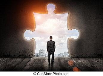 debout, ville, sien, formé, puzzle, tourné, dos, wall., regarder travers, homme affaires, trou