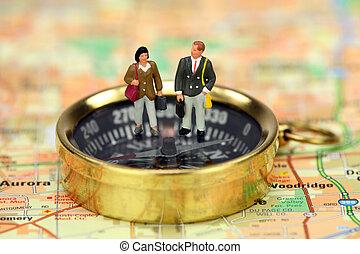 debout, voyageurs, compas, business, miniature