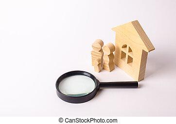 debout, vrai, concept, figures, propriété, gens, maison bois, logement, recherche, appartements, sphère, selling., issue., verre., rent., maison, magnifier, achat