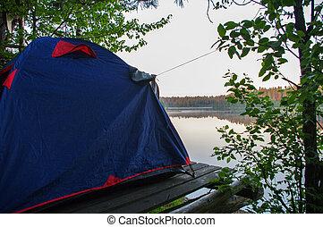 debout, waterview, lac, devant, levers de soleil, tente