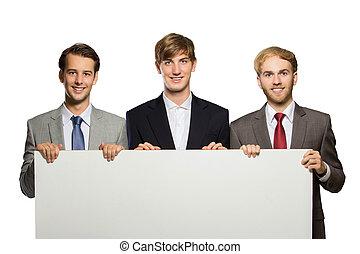 debout, whiteboard, trois, jeune, vide, homme affaires, isola