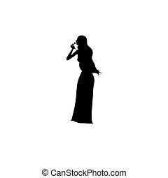 debout, woman., vecteur, illustration