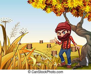 debout, woodman, vieil arbre, hache, dièse