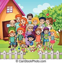 debout, yard, membres, famille