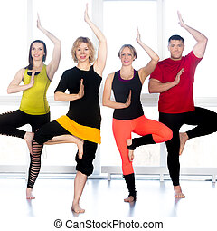 debout, yoga, gens, asana, groupe, classe, heureux