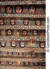 painted church ceiling in Gondar ethiopia