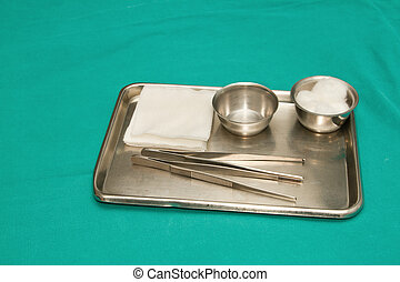 debridement, stahl, satz, instrumente, wunde, chirurgisches ...