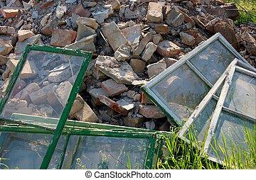 Debris - A pile of debris of a destroyed building