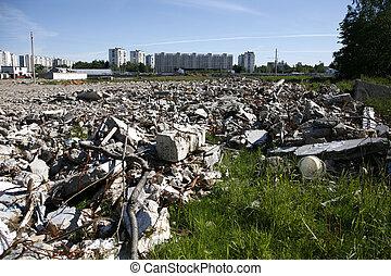 Debris - A pile of debris of destroyed building