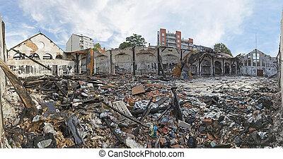 Debris After Fire - Scattered Debris After Fire in Garment...