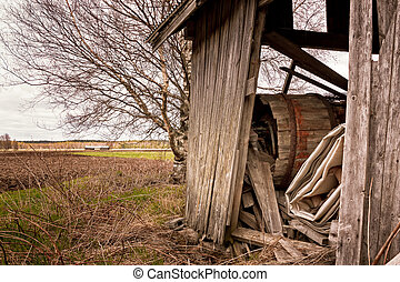 Debris In An Old Barn - The old barn houses in the rural...