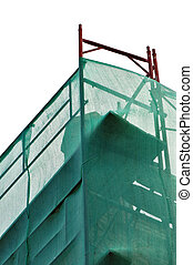 debris netting - Debris netting and scaffold at construction...