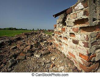 Debris of a destroyed brick building