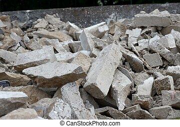 Debris of a destroyed building