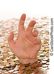 Debt and bad finances concept - drowning in money