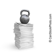 Debt and tax pressure concept with weight kettlebell on a stack of sheets of documents. 3d illustration