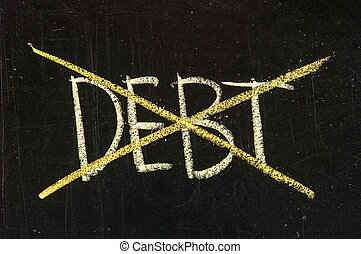 Debt being crossed out on a blackboard