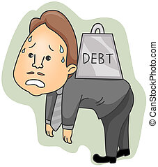 Debt - Businessman carrying heavy debt with Clipping Path