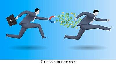 Debt collector business concept