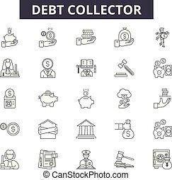 Debt collector line icons, signs set, vector. Debt collector outline concept, illustration: debt,money,collector,business,finance,bank,concept,financial