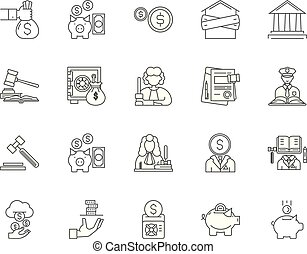 Debt collector line icons, signs, vector set, outline illustration concept