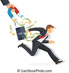 Debt collector man with money running away on vector illustration