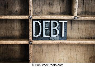 Debt Concept Metal Letterpress Word in Drawer