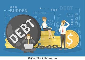 Debt concept. Problem with finance. Big bomb