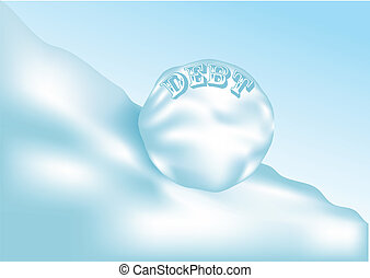 debt. conceptual background with snowball. 10 EPS