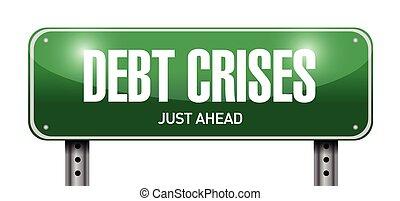 debt crises street sign