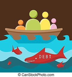 Debt Danger - An image of a metaphor representing surrounded...